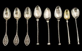 Danish - Early 20th Century Collection of Silver Handmade Spoons by Christian Heise ( 3 ) and Others