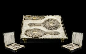 Ladies - Mid 20th Century Boxed Deluxe 4 Piece Silver Backed Vanity Set, Includes Hand Mirror,