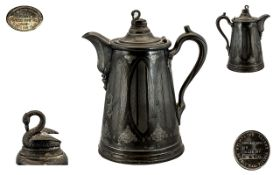Meriden Britanina Company Mid 19th Century Impressive American Silver / Pewter Double Wall Swan