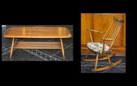 Ercol Teak Coffee Table & Ercol Rocking Chair.