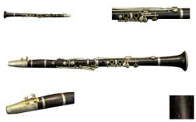 Hawkes and Son Superior Class Early Ebonised Wooden Jazz Clarinet. All Sections of Clarinet Marked