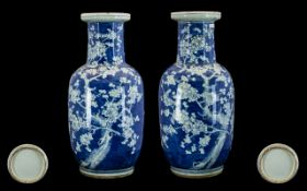 A Pair of Antique Large Blue and White Chinese Vases decorated with prunus blossom,