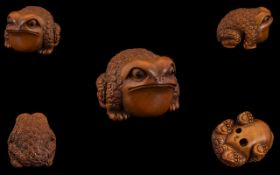 Japanese 19th Century Top Quality Signed Carved Boxwood Netsuke ' Toad ' Signed to Underside of