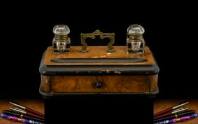 Late 19th Early 20thC Desk Tidy, Frieze Drawer, With Well And Two Glass Ink Bottles,