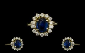 Ladies Superb Quality 18ct Gold - Attractive Sapphire and Diamond Cluster Ring.