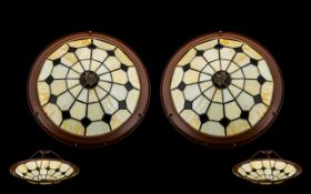 Pair of Tiffany Style Pendant Light Shades dark brown and cream lead glass effect shades.