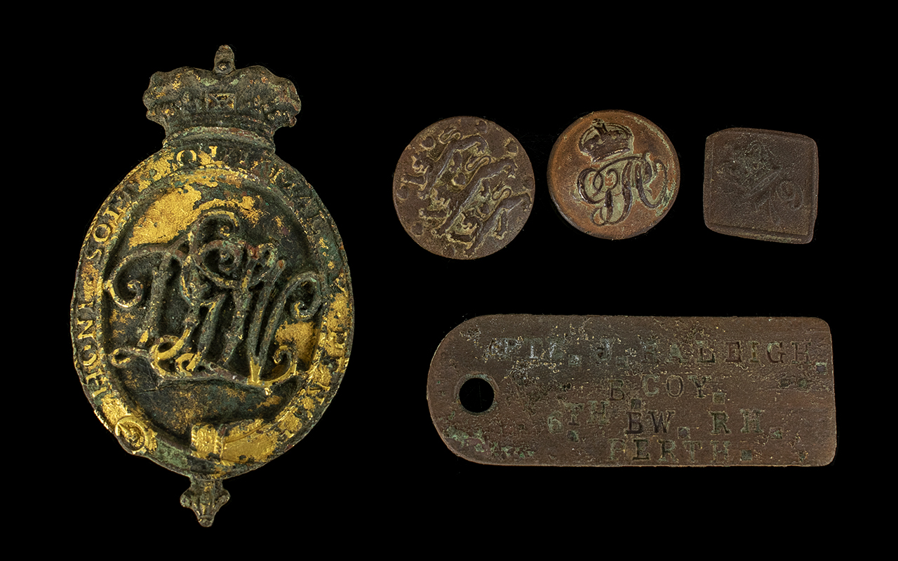 Lot 1321 - Small Collection Of Ground Dug Military Badges & Buttons,