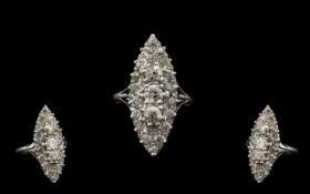 Art Deco Period 18ct White Gold Stunning Boat Shaped Diamond Set Dress Ring,