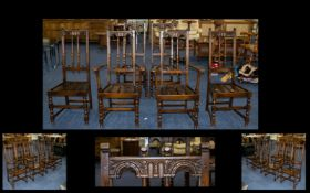 Maple and Co London Set of Early 20thC Dining Chairs comprises 2 carvers and 4 stand. Jacobean style
