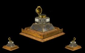 Edwardian Period Golden Oak Desk Ink Well and Pen Stand of Square Shape,