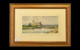 A. Vickers - A View of Maldeck Abbey, Yorkshire Watercolour, Signed and Dated 1909. Size 6.