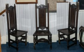 English 19th Century - Carved Oak Hall Chair with Carved and Shaped Top Rail and Back Oak Seat,