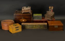 A Box of Assorted Items to include 19thC hinged boxes, Japanese lacquered glove box,