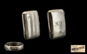 Ladies - Early 20th Century Silver Cheroot Case with Gilt Interior Regency Striped Decoration.