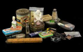 Mixed Lot Of Oddments And Collectables, To Include Hip Flask, Advertising Tins, Military Buttons,