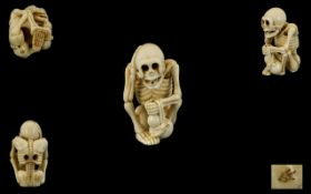 Japanese Superb Quality - Novelty Carved Ivory Netsuke Skeleton Figure with Hand to Head In a