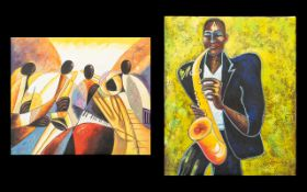 Jazz Interest Two Oil on Canvas Paintings.