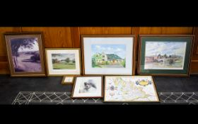 A Mixed Collection Of Framed Prints And Photographs To include reproduction Lancaster map, limited
