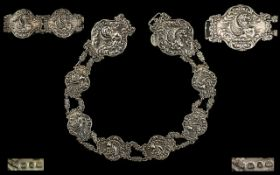 Victorian Period Superb Quality Ornate Ladies Cast Silver Belt by The Silversmiths Levi and Salaman.