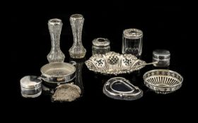 A Small Collection Of Silver Items To include a bon bon dish , hallmarked Birmingham H - 1932,