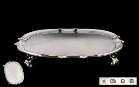Art Deco Period - Nice Quality Shaped and Footed Solid Silver Salver. Hallmark London 1930, Maker C.