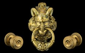 An Extremely Large Solid Brass Door Knocker - 12 Inches Long, Gothic Revival - 8 Inches Wide. Very