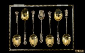 Art Nouveau Period Set of Six Silver Teaspoons with Matching Sugar Spoon of Pleasing Form.