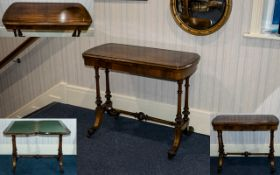 Victorian Period Superb Mahogany Inlaid Topped Card Table of rectangular shape the moulded bow ended