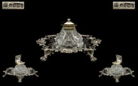 A Mid Victorian Period Impressive Sterling Silver Desk Ink Stand and Silver Topped Inkwell. Very