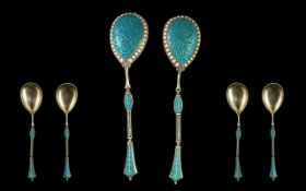 Set Of Two Russian Imperial Cloisonne Enameled Silver Spoons Attributed To Master Workman Gustav