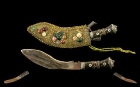 Early 20th Century Kukri Dagger From Nepal, Slightly Curved, Single Edged Blade that Widens In The