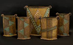 Set of 5 Studio Pots Made Exclusively by Priscilla Fursdon of West Kirby.