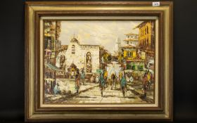 Original Impasto Oil On Canvas Depicting impressionistic figures in Mexican street scene. Marked