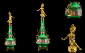French Empire - Impressive and Decorative Tall Gilt Bronze and Painted Ceramic Centrepiece / Column.