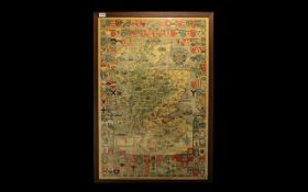 A Large Framed Map Historical Map of Scotland detailing the Arms of Clan Chiefs Scottish Family and