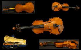 Modern Machine Made Child's Violin in Case Paper label reads 'Stentor Music Company Ltd'.