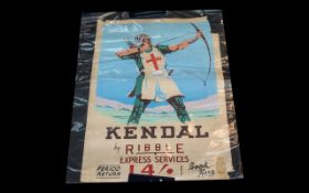 Original 1950/60 Travel Poster advertising Ribble Express Services - 14 shillings return to Kendal,