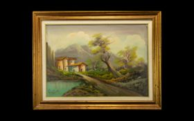 A Mid Century Continental Oil On Canvas Framed and glazed in broad gilt swept frame. Depicting a