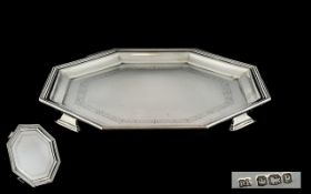 Art Deco Period Superior Quality Sterling Silver Octagonal Shaped Footed Tray - From the 1930's and