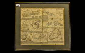 Antique Print of African Islands + the Mediterranean - by Eman Bowen. 14 x 16 inches.