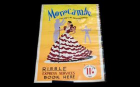 Original 1950/60 Travel Poster advertising Ribble Express Services - 11 shillings return to