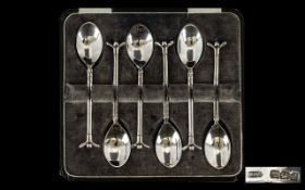 Golfing Interest. A Set of Six Silver Golfing Design Teaspoons.