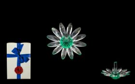Swarovski Crystal Daisy with green centre, in original box. Dainty and beautifully made Swarovski