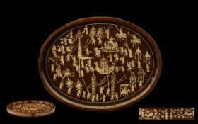 Early 20th Century Oval Shaped Wooden Tray, Inlaid with Chinese Carved Figures In Bone,