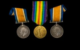 World War I Trio of Military Medals Awarded to 128663 J. Catlin A.B - R.N. SPTS 4123 PTE. H.