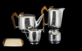 Picquot Ware Vintage Formica And Magnailium Teaset Five pieces in total complete with original
