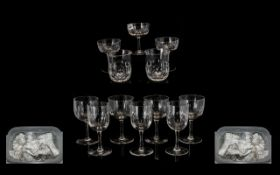 Quantity Of Clear Drinking Glasses To Include Tumblers, Champagne, Liqueur etc Early To Mid 20thC