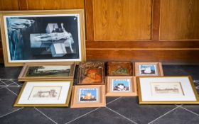 Mixed Collection of Prints & Plaques comprising a large religious print portraying Jesus on a cross
