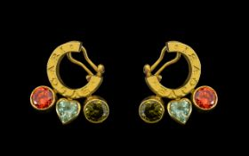 Bvlgari - Ladies Superb Quality and Heavy Vintage Pair of 18ct Gold Horseshoe Design Multi-Colour