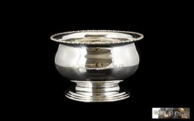 1930's Period - Sterling Silver Circular Footed Bowl with Reeded Border and Stepped Base of Pleasing